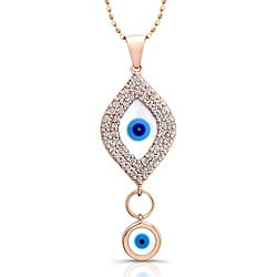 14k Rose Gold 1/3ct TDW Diamond Evil Eye Necklace (I-J, I2-I3)