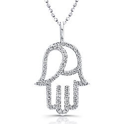 14k White Gold 1/3ct TDW Diamond Hamsa Necklace (I-J, I2-I3)