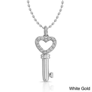 14k White or Yellow Gold Diamond Heart Key Necklace