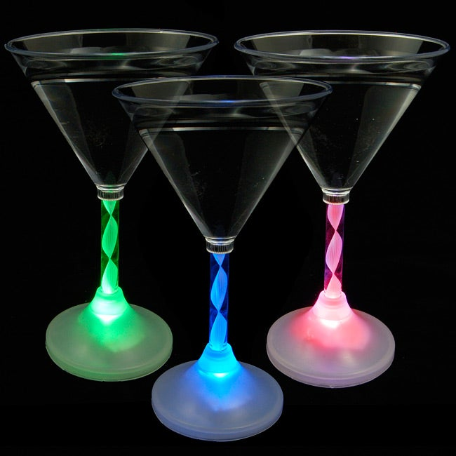 Lighted Blinking Martini Drinking Glasses with Long Spiral Stem (Pack of 12)