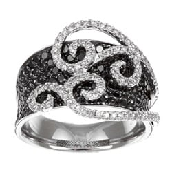 14k White Gold 3 2/5ct TDW Black and White Swirl Diamond Ring (H, SI1)