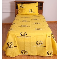 University of Southern Mississippi 200 Thread Count Yellow Sheet Set