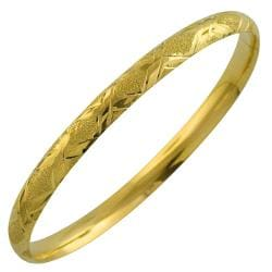 Fremada 10k Yellow Gold Laser Polish 'X' Design Bangle