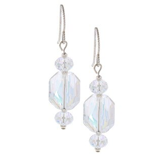 MSDjCASANOVA Argentium Silver AB Graphic Crystal Earrings