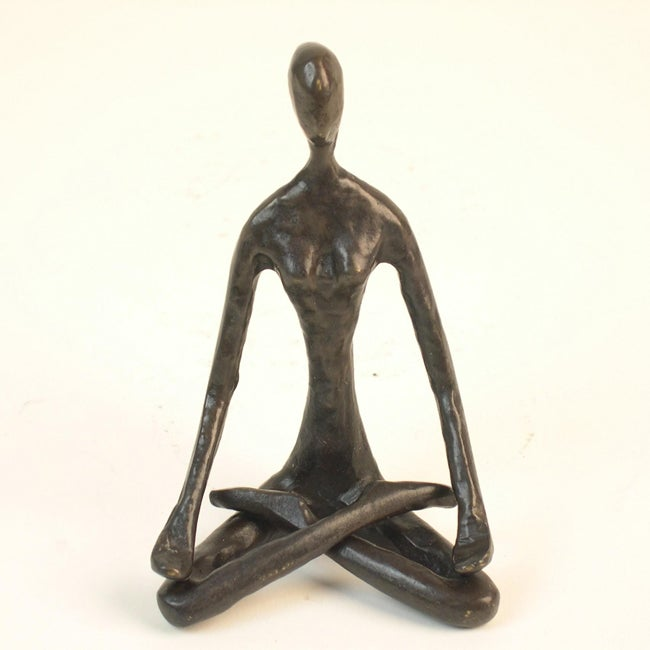 Cast Bronze Female Yoga Lotus Sculpture