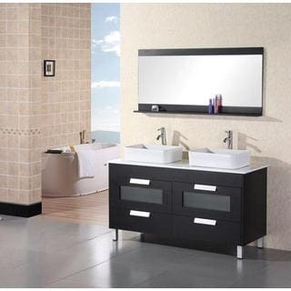 Design Element Contemporary Black Double-sink Bathroom Vanity