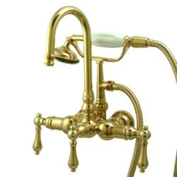 Americana Wall-mount Polished Brass Clawfoot Tub Faucet