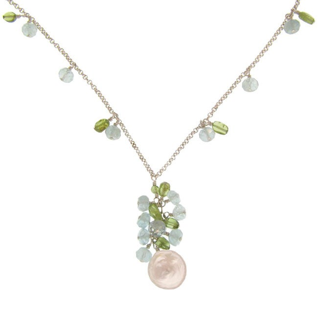 Misha Curtis Silver Coin Pearl/ Peridot/ Aquamarine Necklace (1