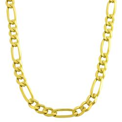 Fremada 14k Yellow Gold 5.6mm Concave Figaro Necklace (22-inch)