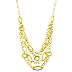 Fremada 14k Yellow Gold 3-strand Hammered Oval Link Bib Necklace