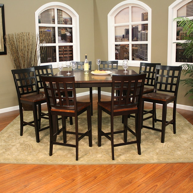 Pennie 9 piece butterfly leaf counter height dining set for 9 piece dining room set with leaf