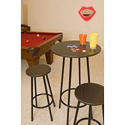 Zella Metal Espresso 3-piece Bar Table Set