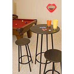 Zella Metal Espresso 3-piece Bar Table Set