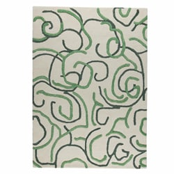 Hand-tufted Busy Green Abstract Wool Rug (4'6 x 6'6)