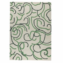 Hand-tufted Busy Green Abstract Wool Rug (5'6 x 7'10)