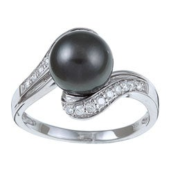 Kabella 10k Gold Tahitian Pearl and 1/4ct TDW Diamond Ring (H-I, I2-I3) (8-9 mm)