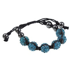 Celeste Gunmetal Blue Crystal Beaded Black Macrame Bracelet