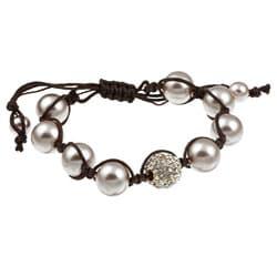 Celeste Gunmetal Clear Crystal/ Pink Faux Pearl Beaded Macrame Bracelet