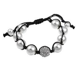 Celeste Gunmetal Clear Crystal/ White Faux Pearl Macrame Beaded Bracelet