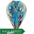 Murano Inspired Glass Aqua Blue and Gold Large Pointed Leaf Pendant