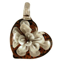 Murano Inspired Glass White Flower Diagonal Heart Pendant
