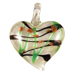 Murano Inspired Glass White Heart Pendant
