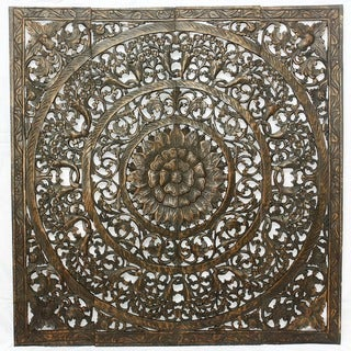 Recycled Teak Wood Black Stain Natural Wax 3D Lotus Panel (Thailand)