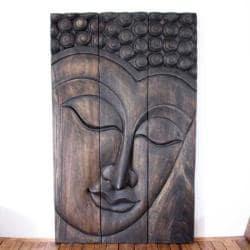 Monkey Pod Wood Mocha Oil Serene Buddha Panel (Thailand)
