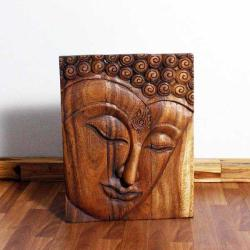 Monkey Pod Wood Walnut Oil Ushnisha Buddha Panel (Thailand)