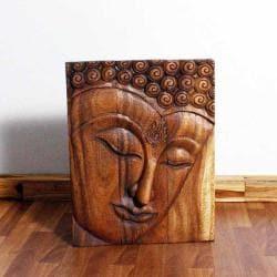 Monkey Pod Wood Walnut Oil Ushnisha Buddha Panel (Thailand)