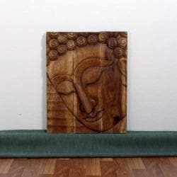 Monkey Pod Wood 24x36-inch Walnut Oil Pacceka Buddha Panel (Thailand)