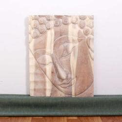 Monkey Pod Wood 24x36-inch White Oil Pacceka Buddha Panel (Thailand)