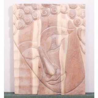 Monkey Pod Wood 24x36-inch White Oil Pacceka Buddha Panel (Thailand)