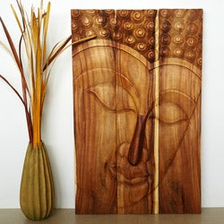 Monkey Pod Wood 24x36-inch Tung Oil Pacceka Buddha Panel (Thailand)