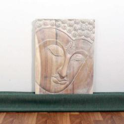 Monkey Pod Wood 24x36-inch White Oil Ushnisha Buddha Panel (Thailand)