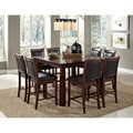Taranto Warm Walnut Granite Inlay 9-piece Dining Set