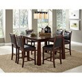 Taranto Warm Walnut Granite Inlay 7-piece Dining Set
