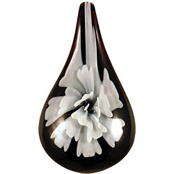 Murano-inspired Glass White Flower Teardrop Pendant