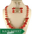 Murano Inspired Glass Marble and Red Crystal Cluster Jewelry Set