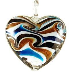 Murano-inspired Glass White Swirl Heart Pendant