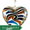 Murano-inspired Glass White Swirl Heart Pendant