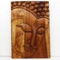 Monkey Pod Wood 20x30-inch Walnut Oil Ushnisha Buddha Panel (Thailand)