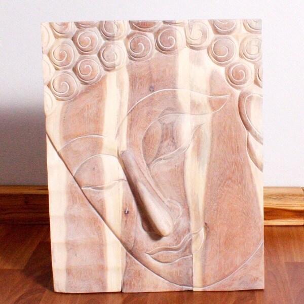 Monkey Pod Wood White Oil Pacceka Buddha Panel (Thailand)