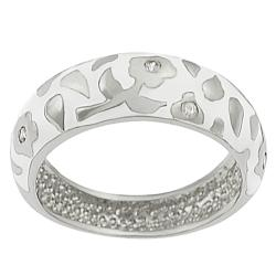 Tressa Sterling Silver CZ-accented White Enamel Flower Ring