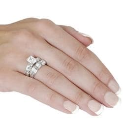 Tressa Silver Emerald and Baguette-cut CZ Bridal-style Ring Set