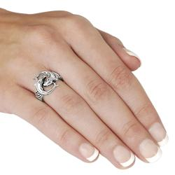 Journee Collection  Sterling Silver Two Dolphin Ring