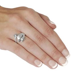 Journee Collection  Sterling Silver Two Dolphin Highly Polished Ring