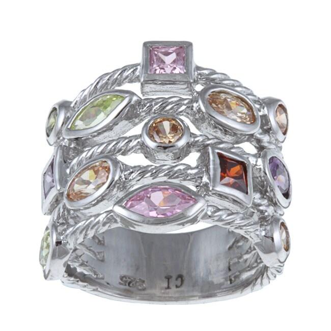 La Preciosa Sterling Silver Multi-colored Cubic Zirconia 5-strand Cable Ring