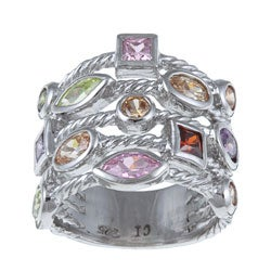 La Preciosa Sterling Silver Multi-colored Cubic Zirconia 5-strand Cable Ring