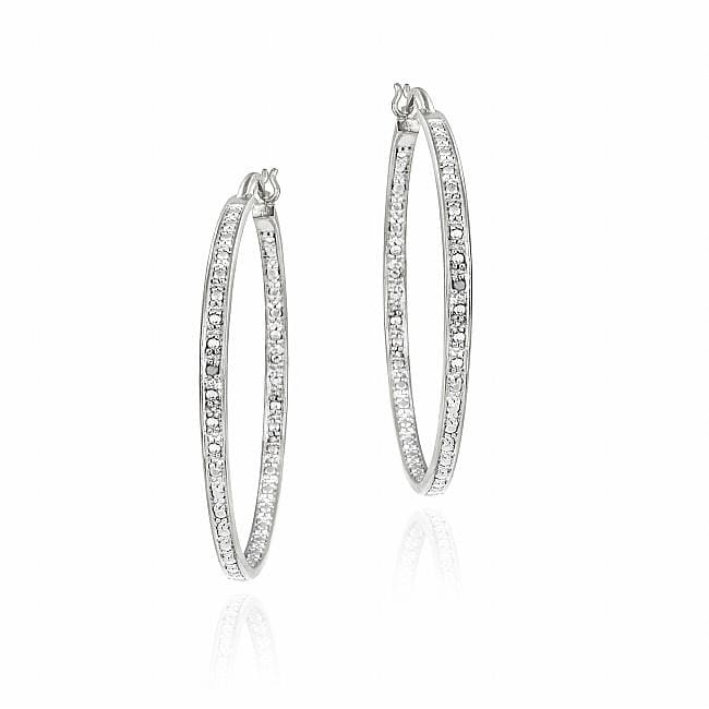 DB Designs Sterling Silver Diamond Accent Earring Hoop Earrings